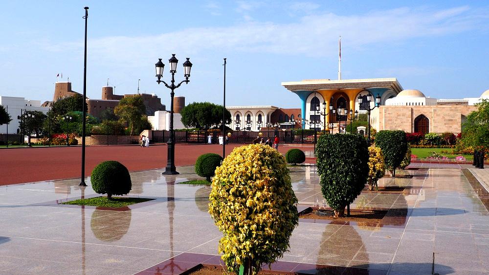 Blick auf den Sultanspalast in Maskat im Oman