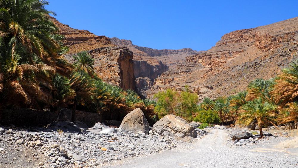 Überblick über Wadi Ghul im Oman