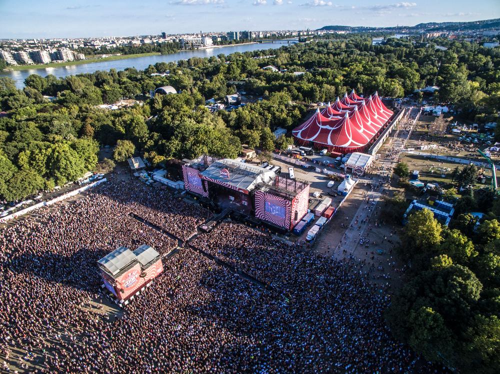 Blick auf das Sziget Festival 2016 aus der Luft