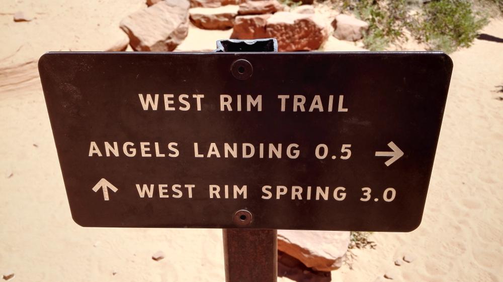 Hinsweisschild am Angels Landing Trail