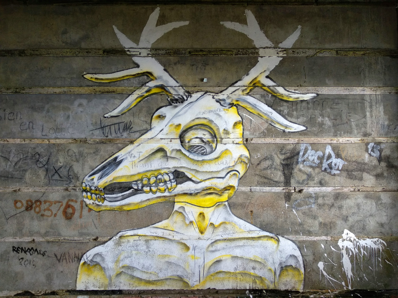Street Art Hirschskelett Bokor Hill