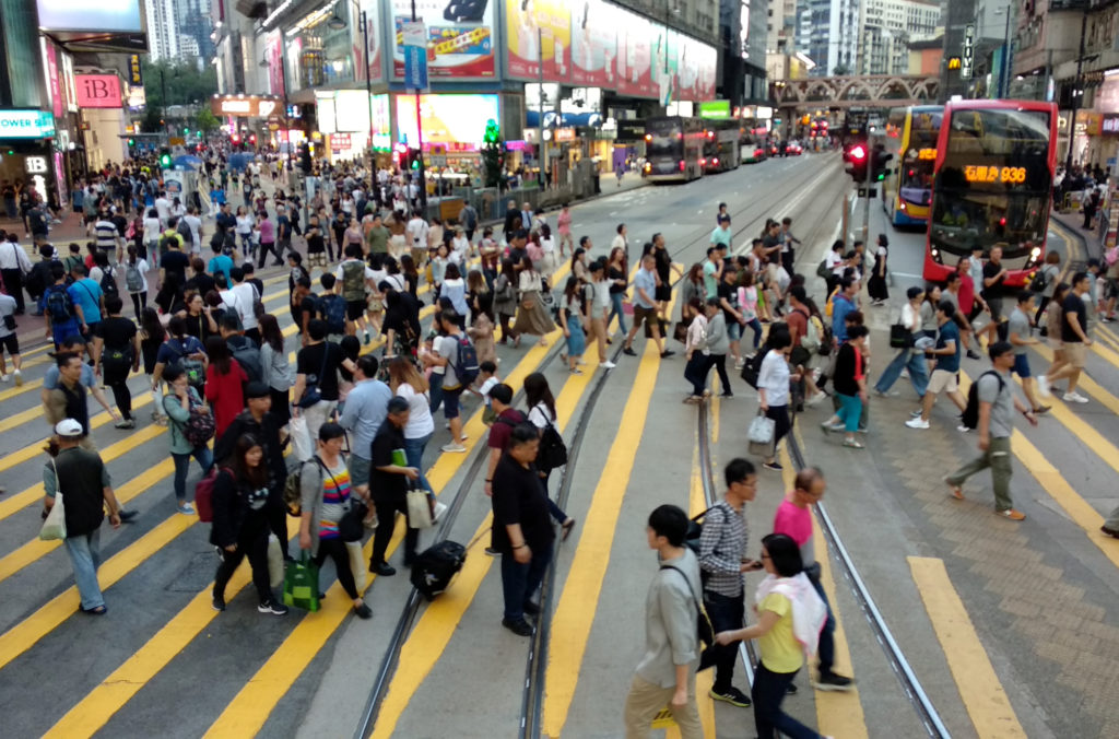 Crowded Street in Causeway Bay