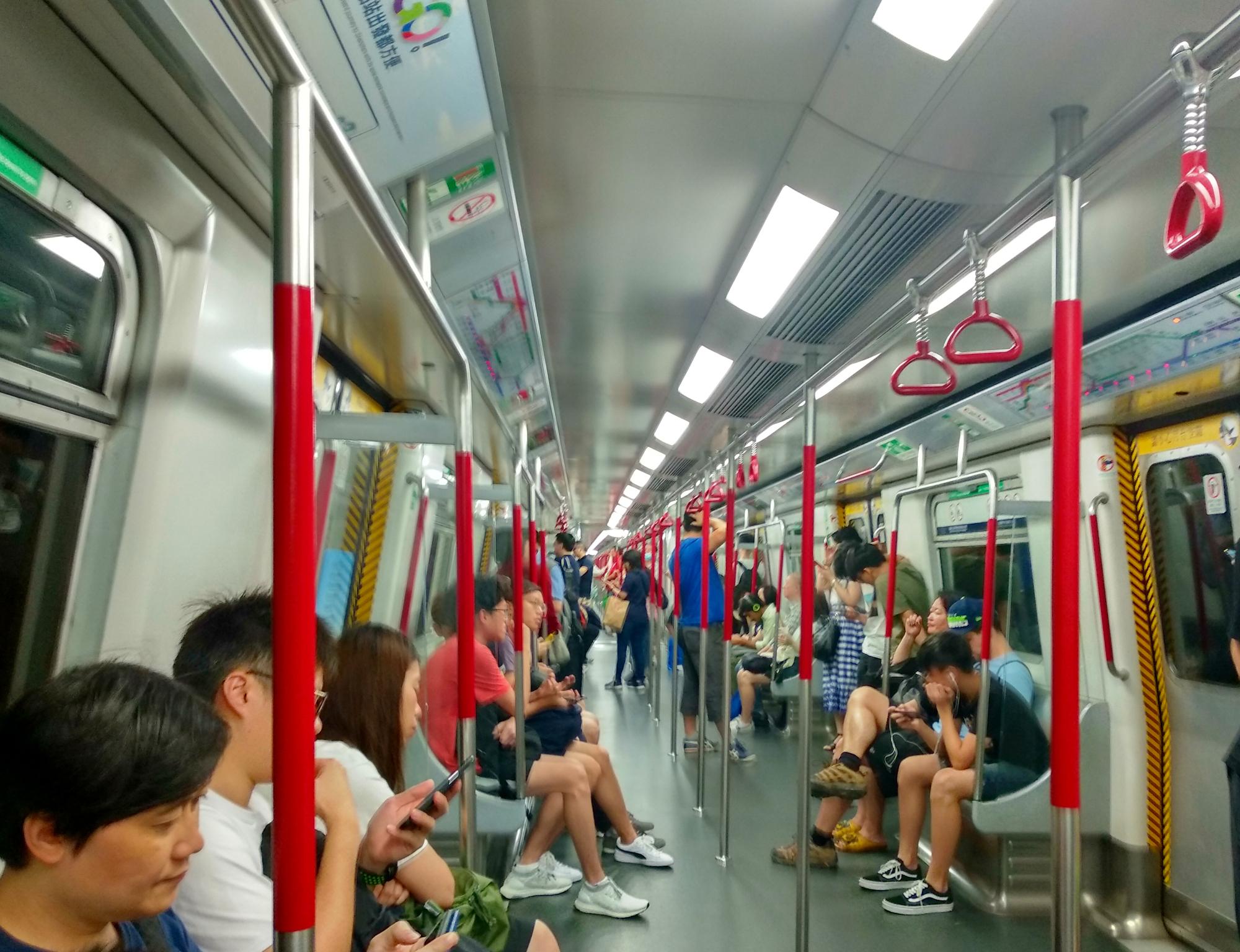 Inside a MTR Train Hong Kong