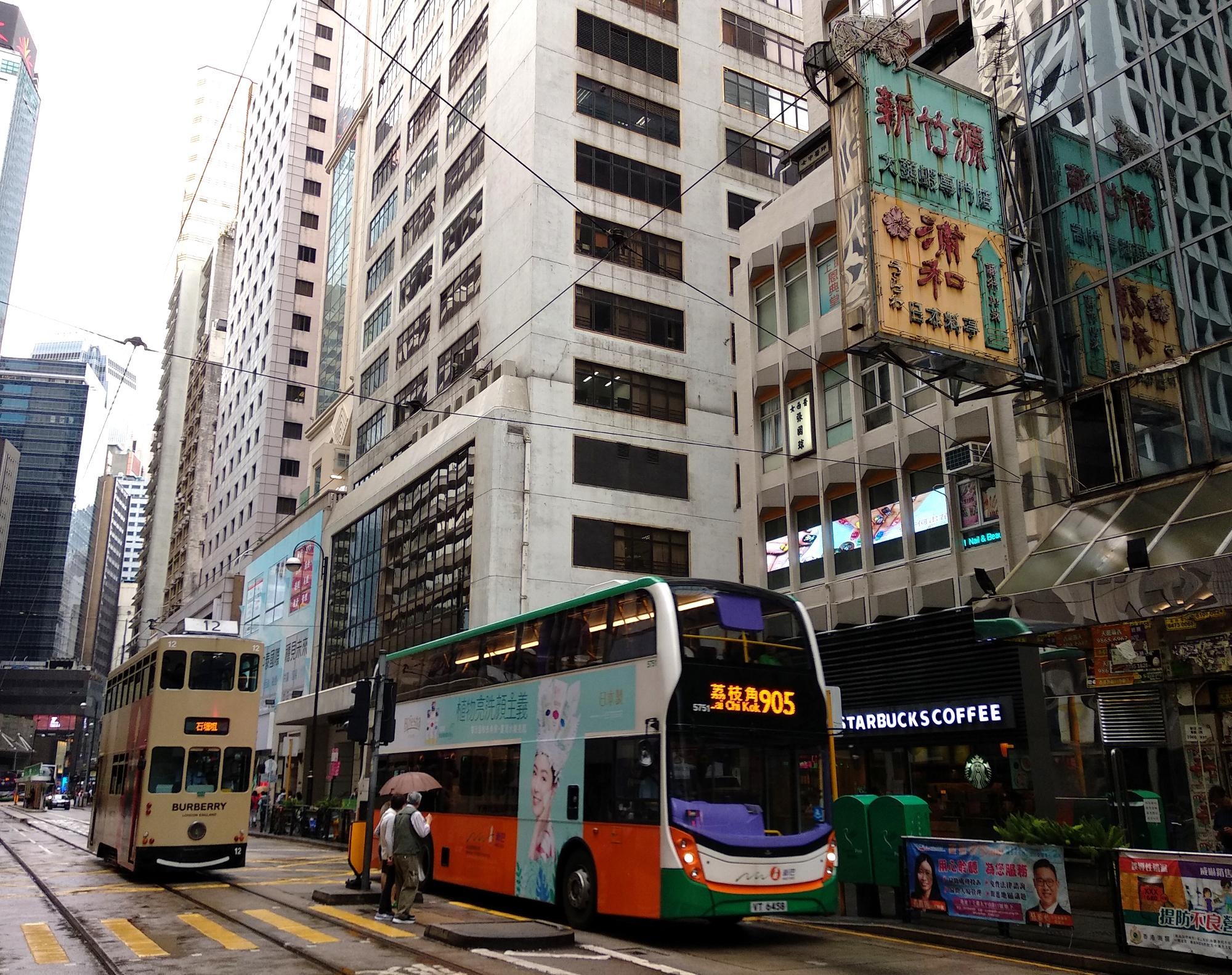 Tram and Bus in Sheung Wan
